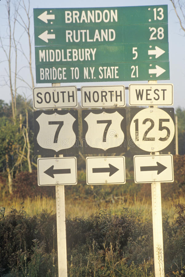 Road signs in New England royalty free stock image