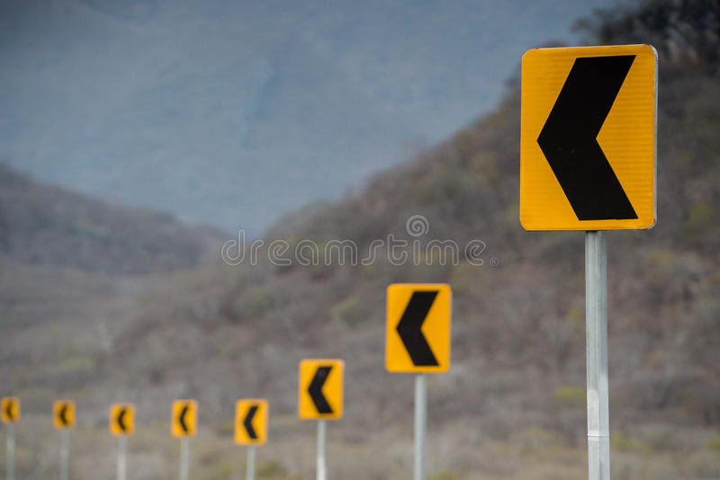 Road signs in Oaxaca. On a sunny day royalty free stock photo