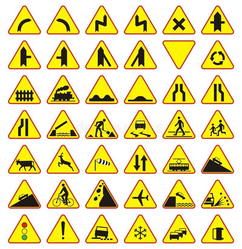 Road signs pack (warning signs) royalty free illustration