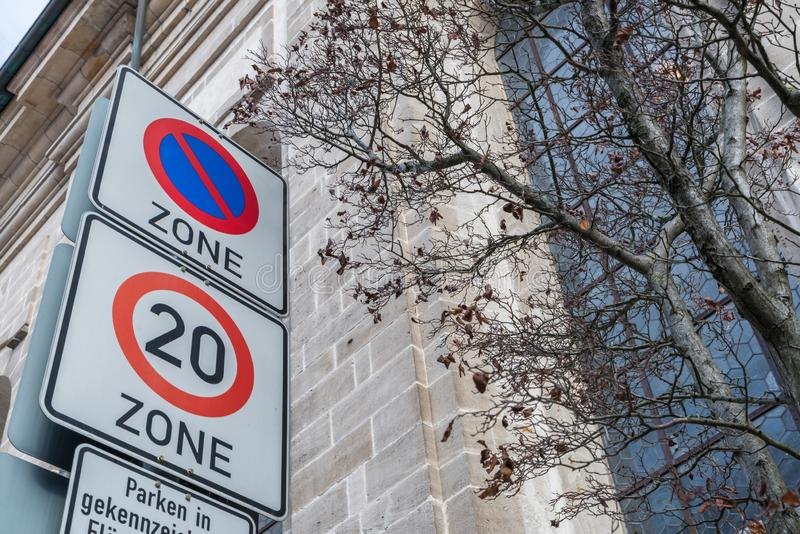 Road signs for parking prohibition and speed limit, Germany stock photography