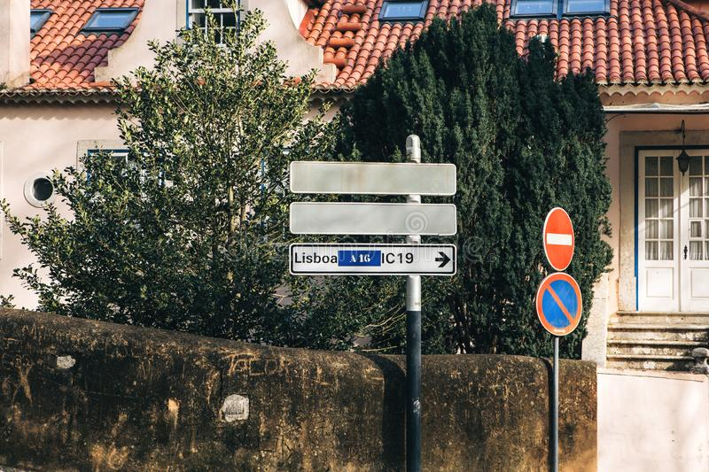 Road signs in Portugal. One of them indicates the direction of the road to Lisbon royalty free stock photos