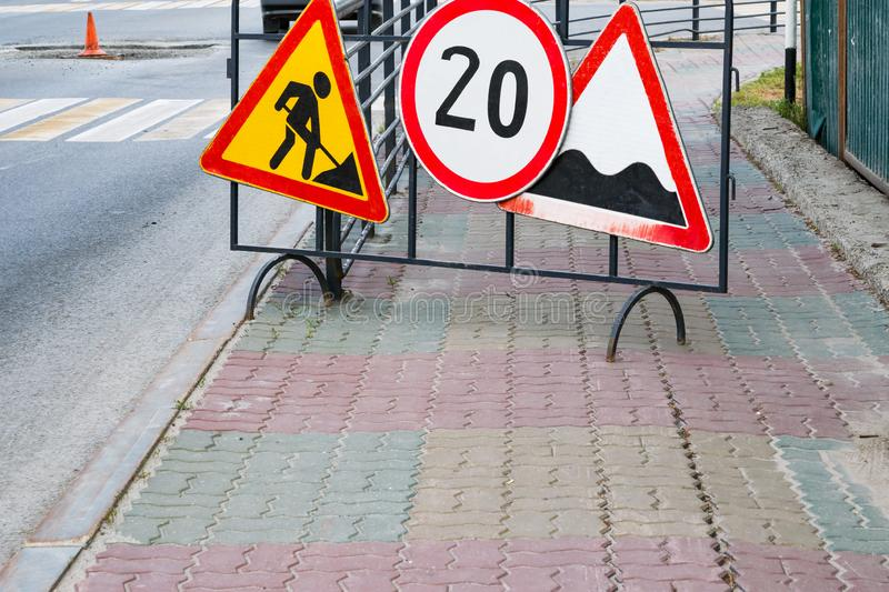 Road signs, road repair on the street,. Urban landscape stock photography