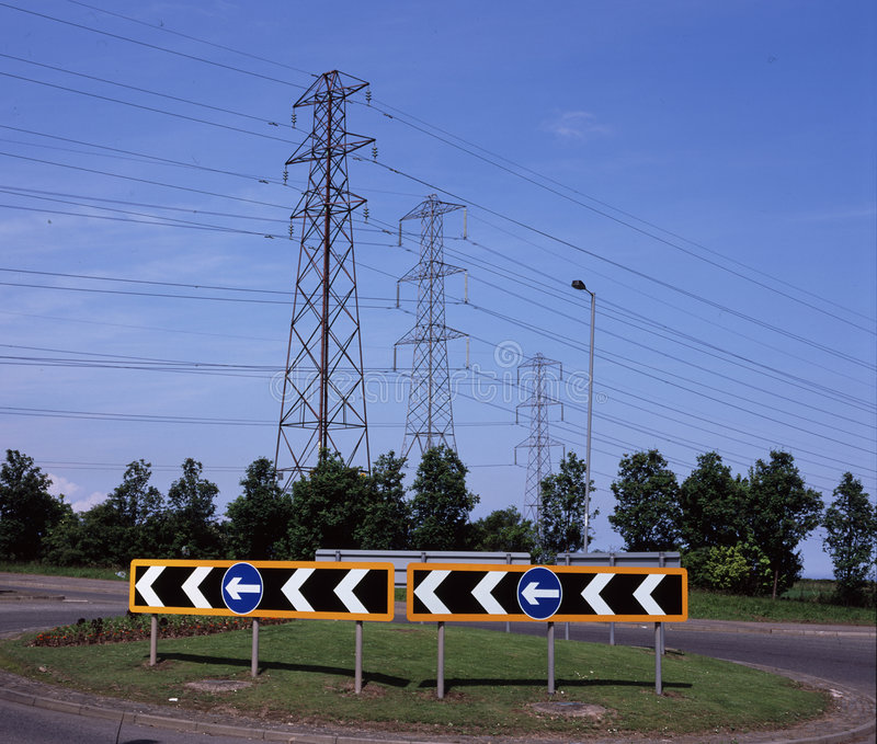 Download Road Signs on Roundabout stock photo. Image of warning - 5483436