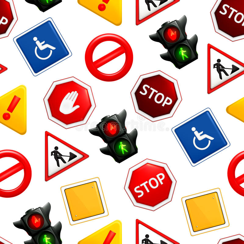 Download Road Signs, Seamless Pattern Stock Vector - Image: 24511001