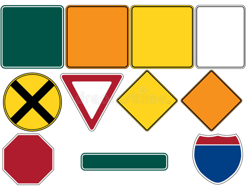Download Road Signs Set 1 stock vector. Image of sign, rectangular - 15461977