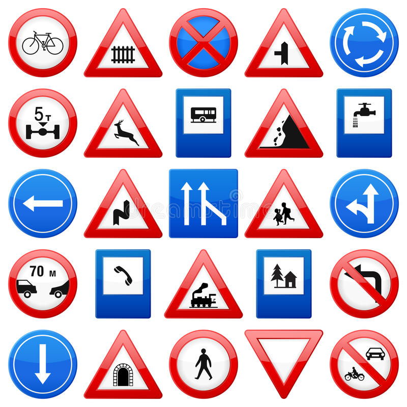 Download Road signs set stock vector. Image of shape, icon, warning - 24038382