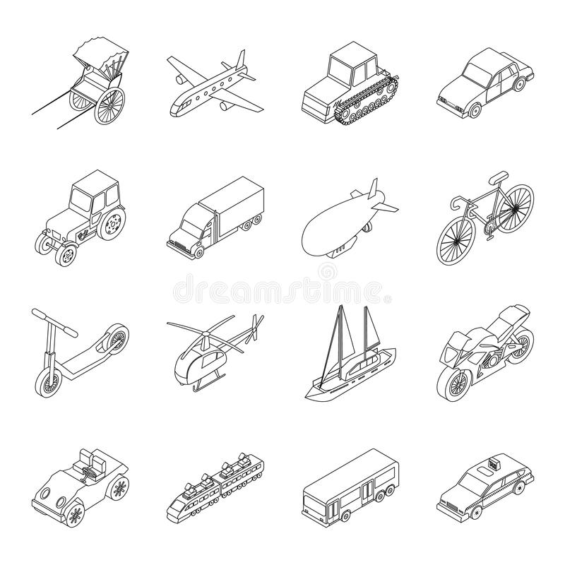Road signs set icons in outline style. Big collection of road signs symbol royalty free illustration