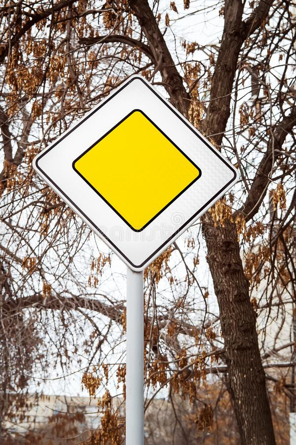 Road signs on the street. Close-up stock photography
