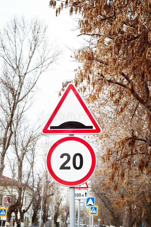 Road signs on the street. Close-up royalty free stock photo