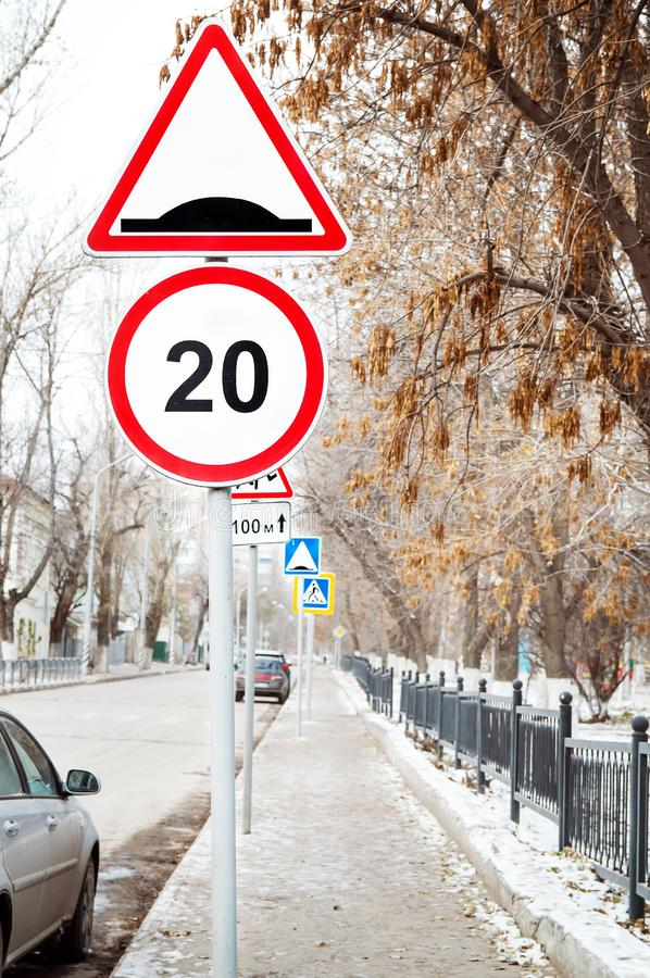 Road signs on the street. Close-up royalty free stock image