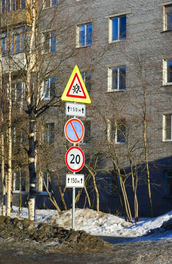 Road signs on the street. Image of street city with road signs stock photo