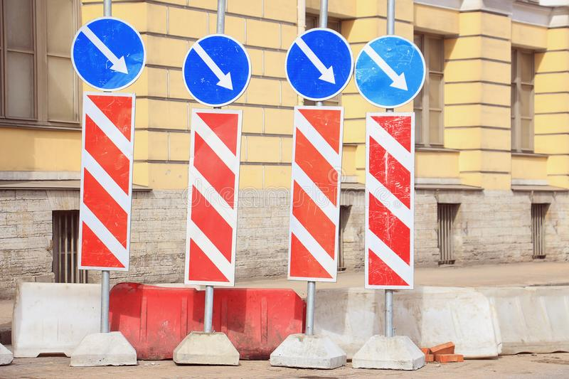 Road signs repair work by-pass stock image