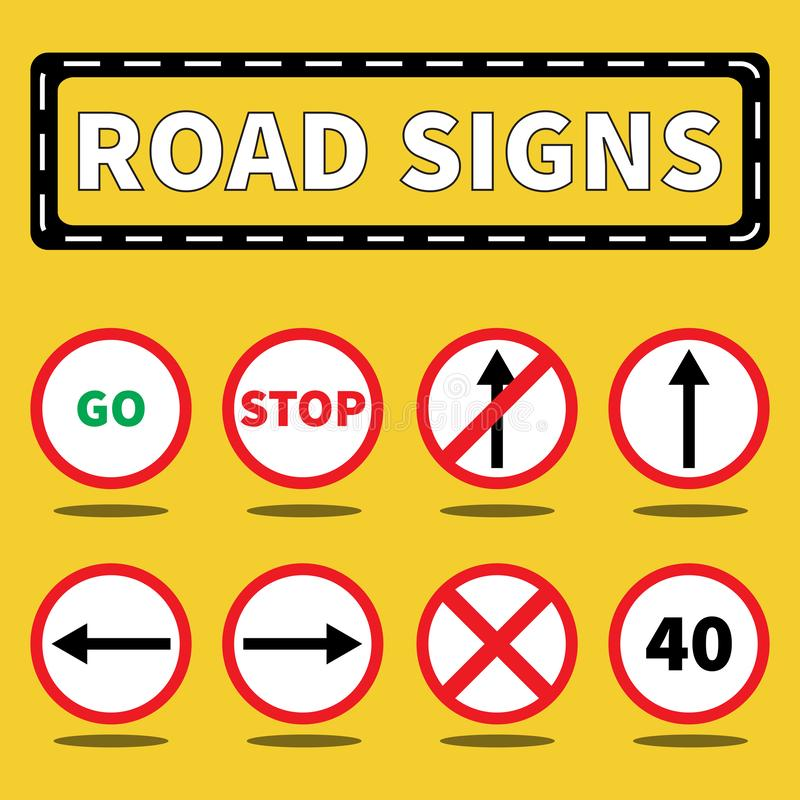 Road signs and symbols collection set royalty free illustration