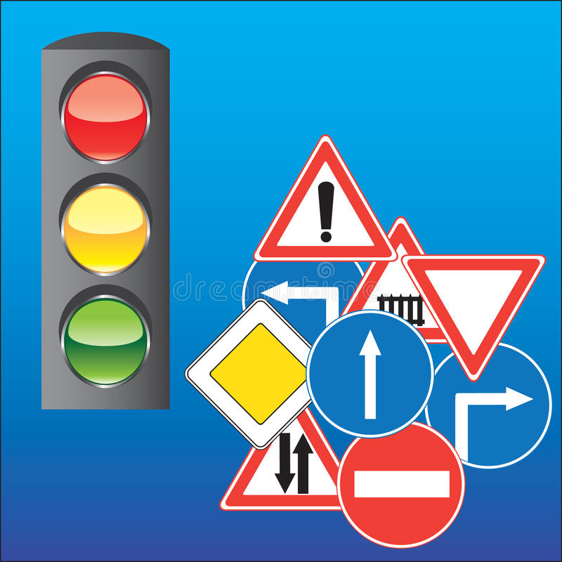Download Road Signs And Traffic Light Stock Vector - Illustration of governed, isolated: 10242990
