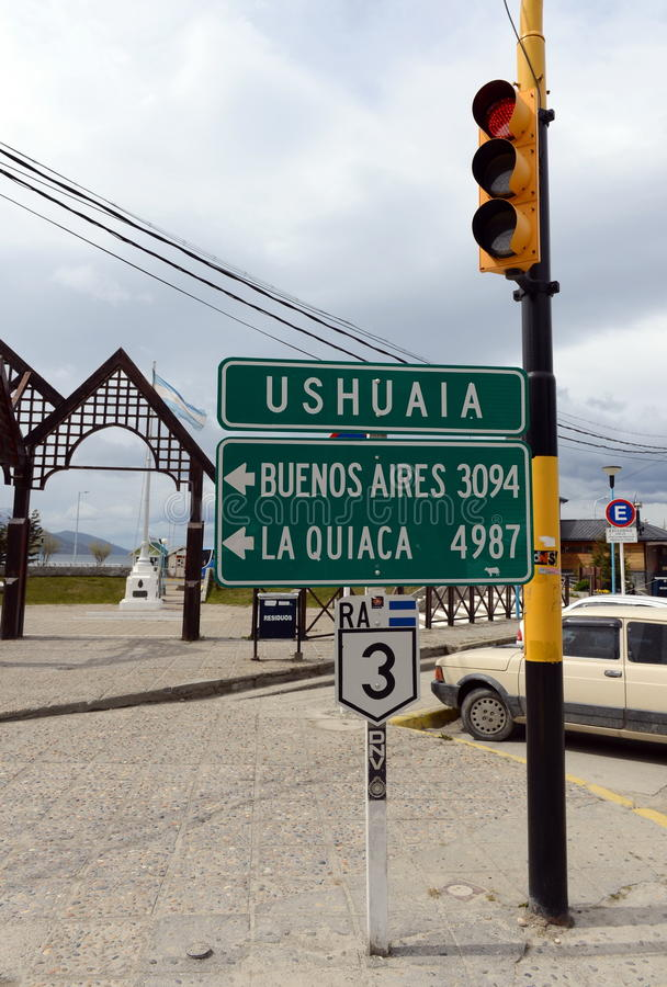 Road signs and traffic lights in Ushuaia. stock photo