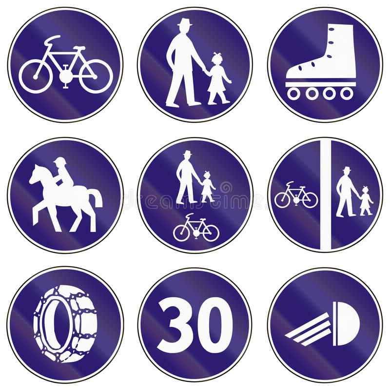 Road signs used in Slovakia stock illustration