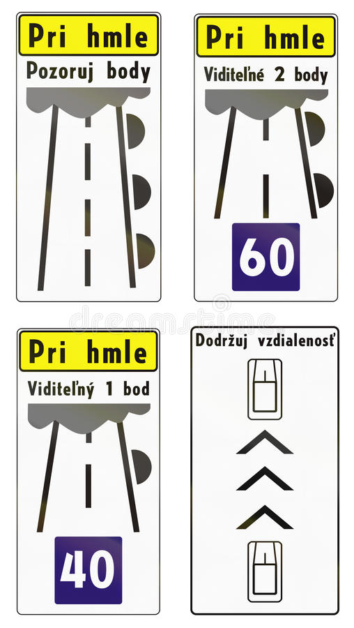 Road signs used in Slovakia royalty free illustration