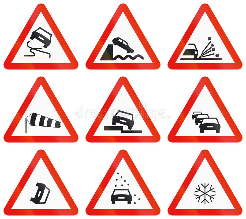 Road signs used in Spain vector illustration