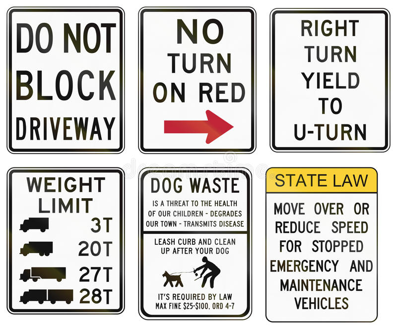 Road signs used in the US state of Delaware stock illustration