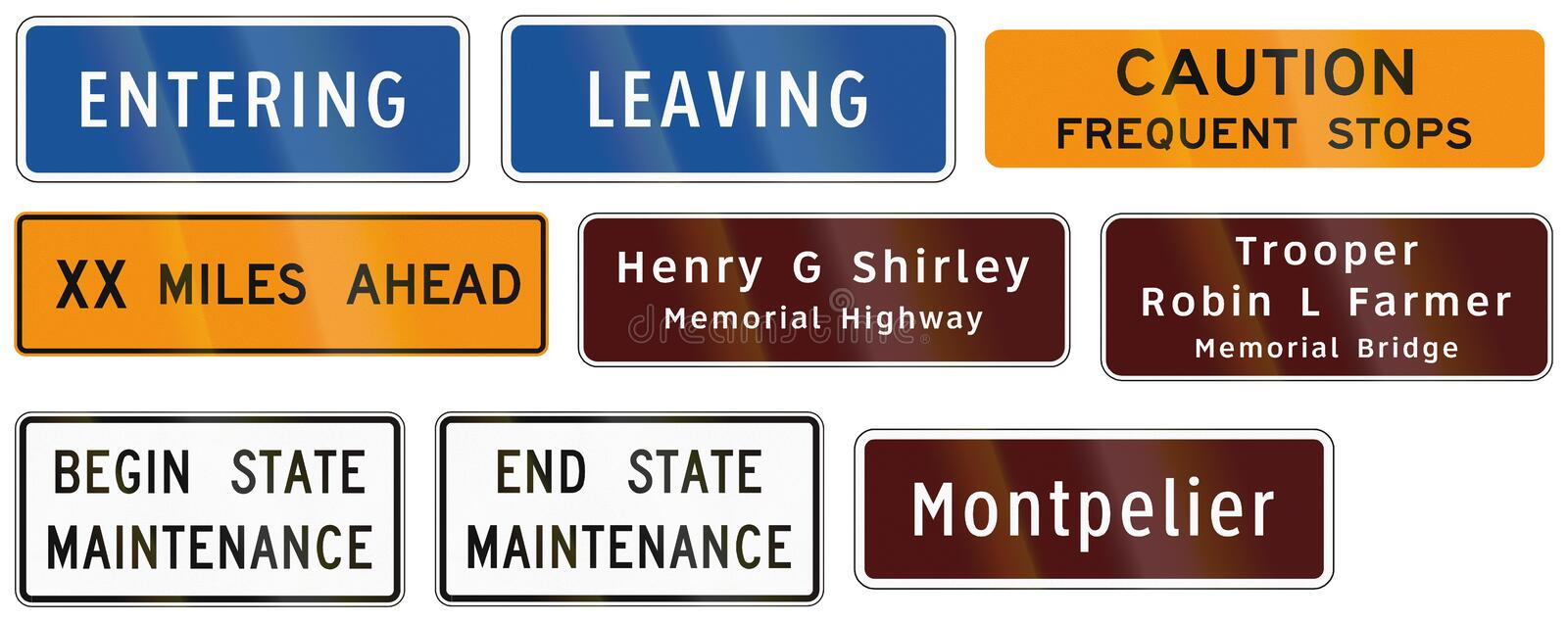 Road signs used in the US state of Virginia royalty free illustration