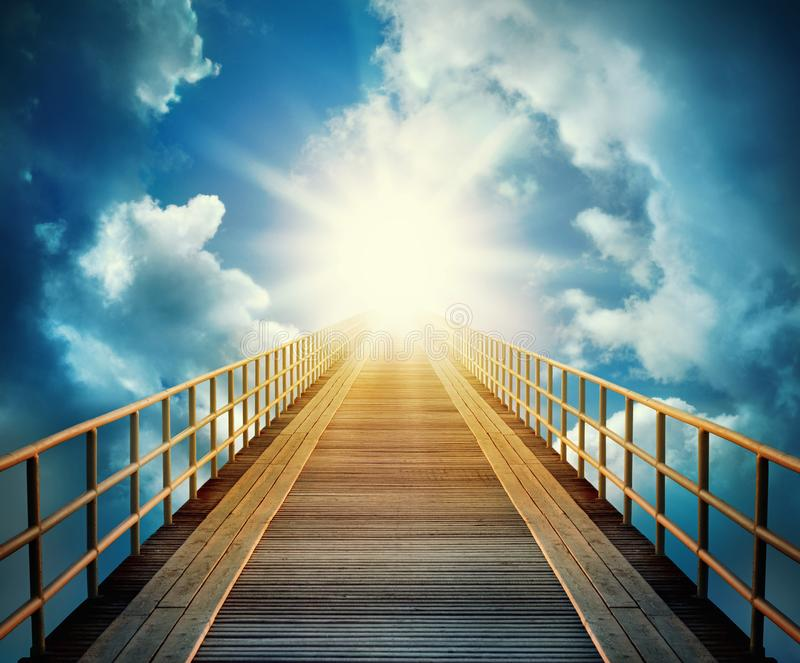 Road on the sky. Religion, philosophy, and psychology items. stock photo