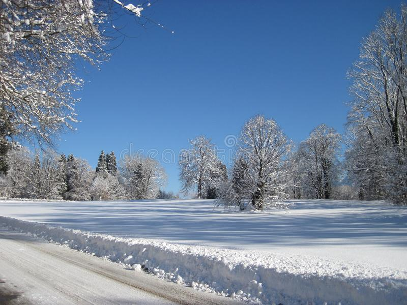 Road in snow, winter landscape stock image