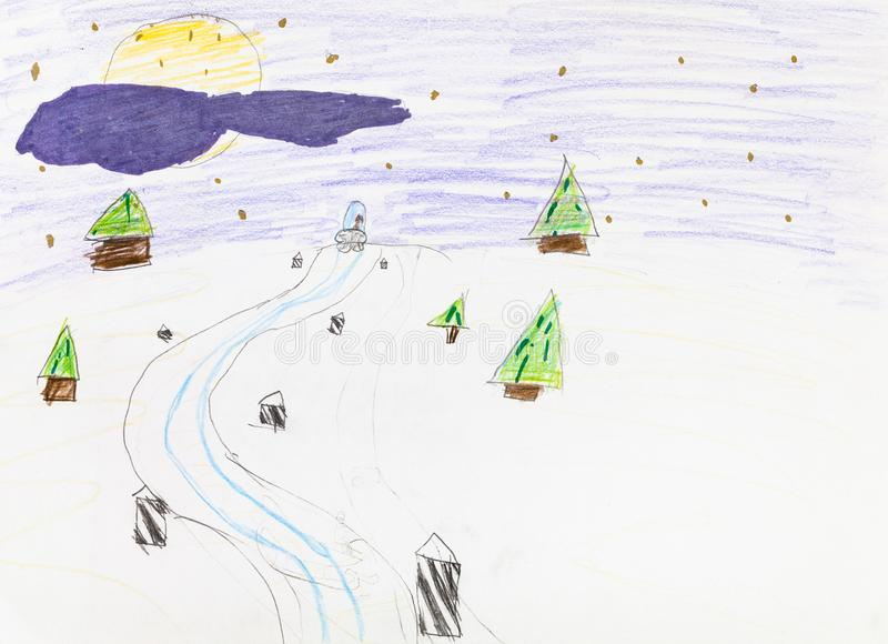 Road in snowfield between firtrees in winter night. Road in snowfield between fir trees in winter night hand-drawn by colour pencils on white paper stock illustration