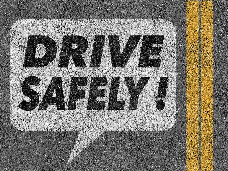 Road with speech bubble and Drive safely text stock photos