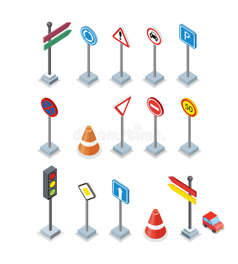 Road and Street Signs set. Warrnings Billboards vector illustration
