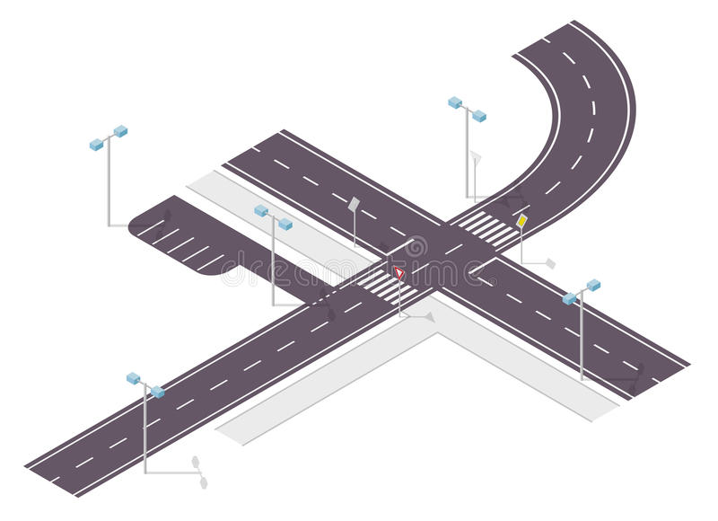 Road, street traffic, info graphic, junction crossway on white. Illustration of crossroads main and side road. vector illustration
