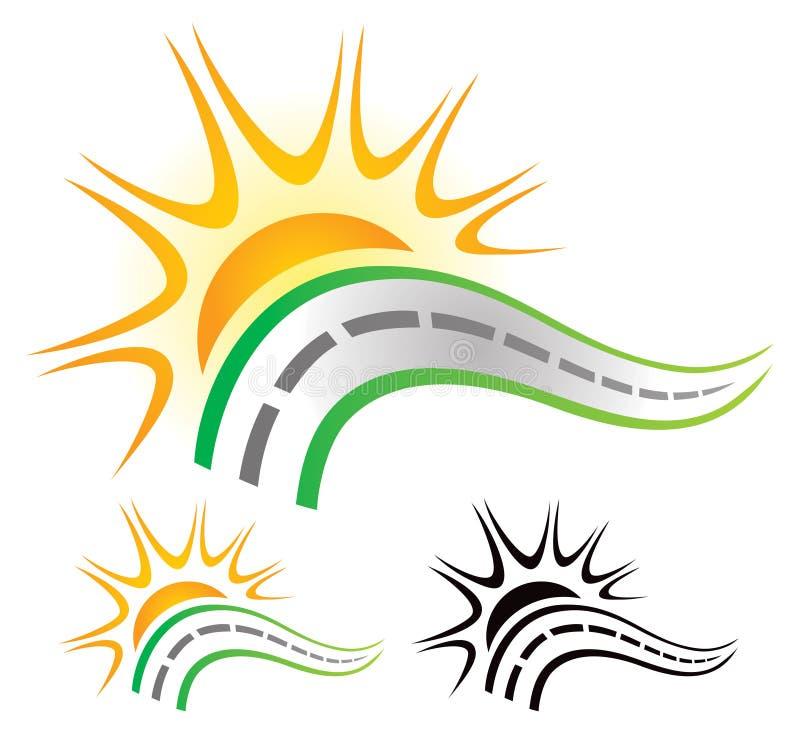 Road Sun Logo. A road with setting sun logo icon