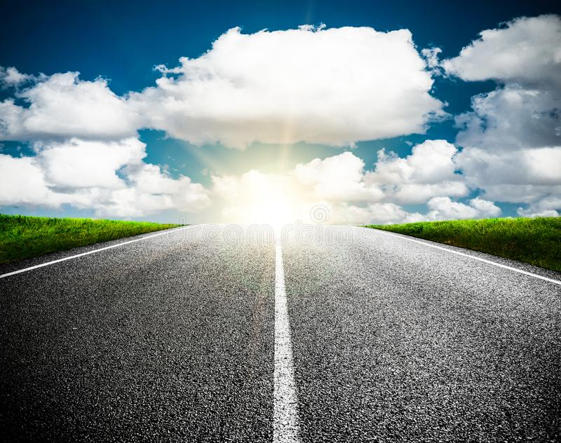 Road on a sunny summer day royalty free stock photo