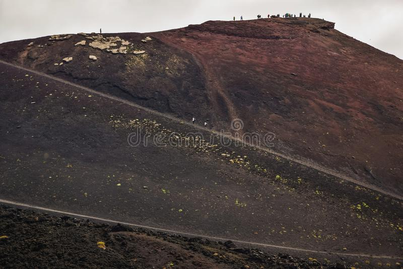 When the road takes you to rise. Mt Etna, Sicily, Italy stock image