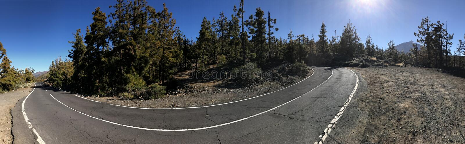 Road through Teide National Park. Panorama from a road through Teide National Park at Tenerife royalty free stock photo