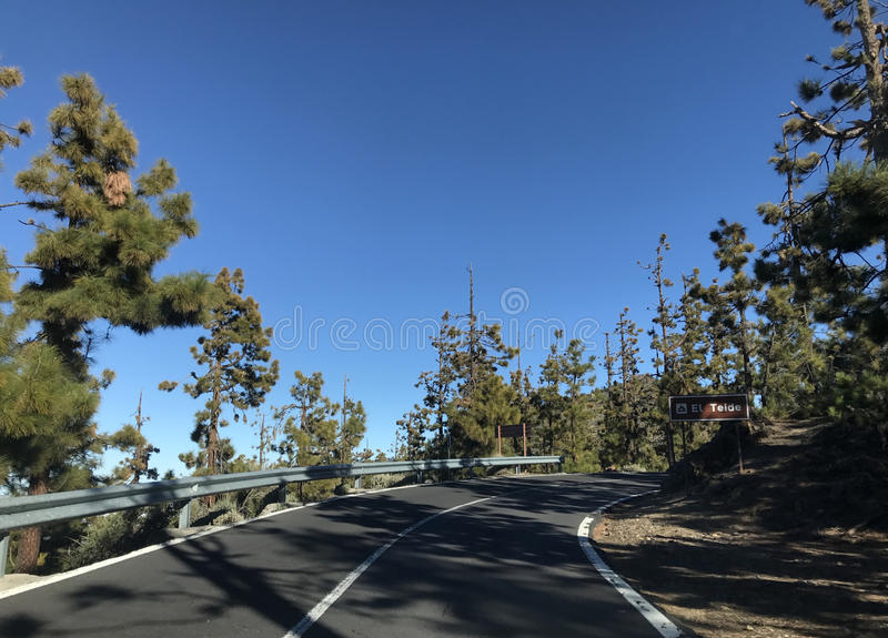 Road through Teide National Park. At Tenerife stock photography