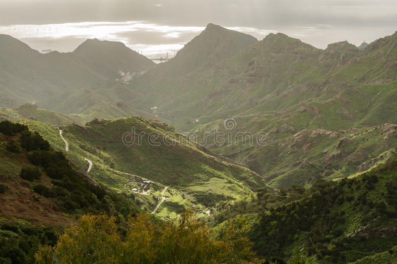 Road TF-12 in Anaga Rural Park - peaks with ancient forest on Te. Road TF-12 in Anaga Rural Park - evergreen peaks with ancient forest on Tenerife, Canary royalty free stock photography