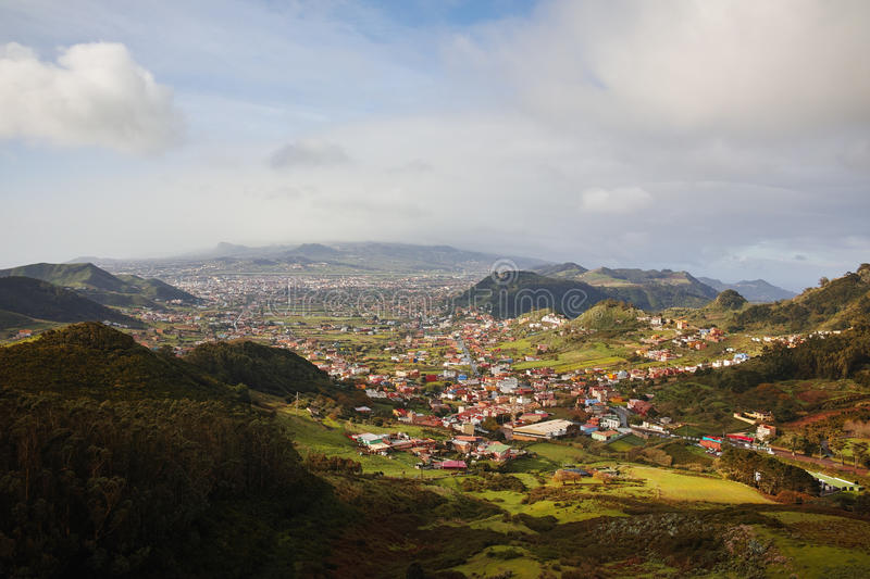Road TF-12 in Anaga Rural Park - view on La Laguna valley, Tenerife, Canary Islands. Road TF-12 in Anaga Rural Park - evergreen valley on norteast of Tenerife royalty free stock photo
