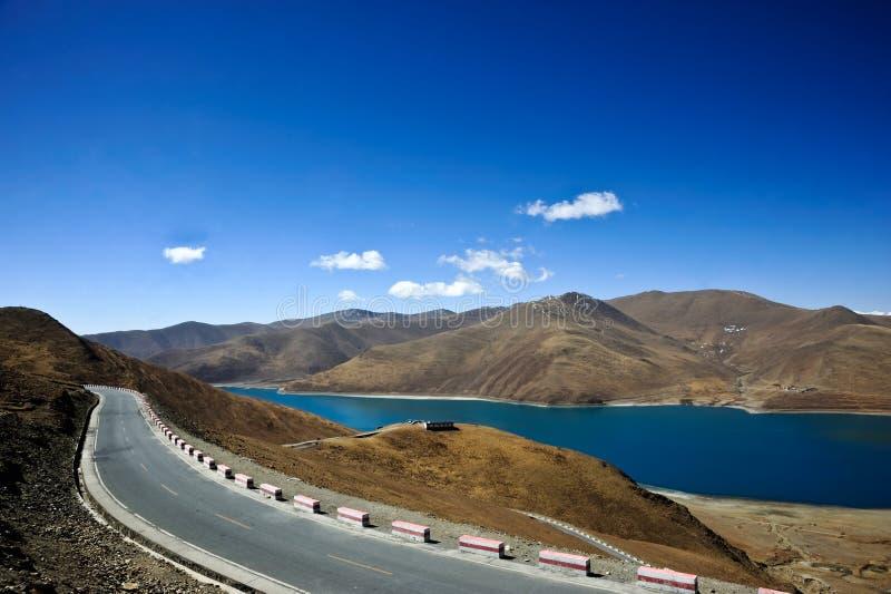 Download Road on the Tibetan lake stock image. Image of postcard - 21787875
