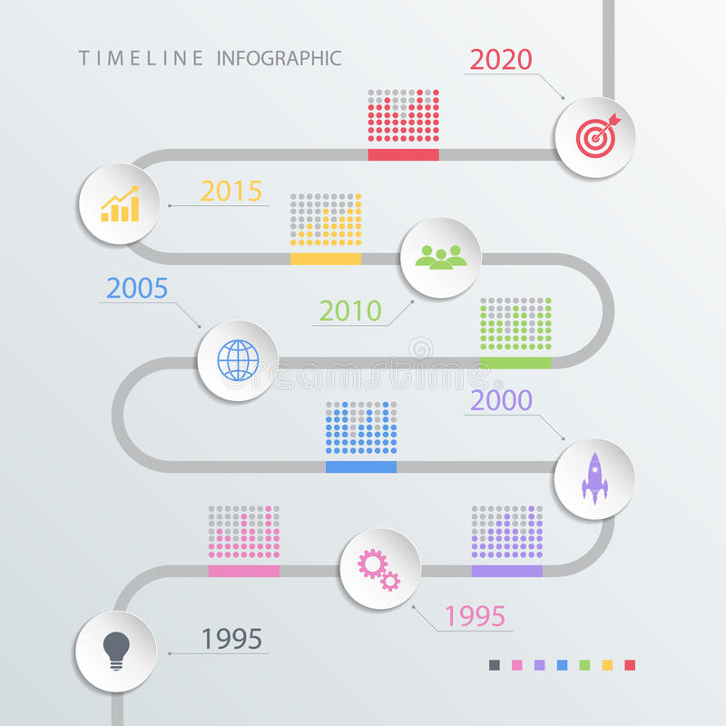 Road timeline infographic design template with color icons. stock images