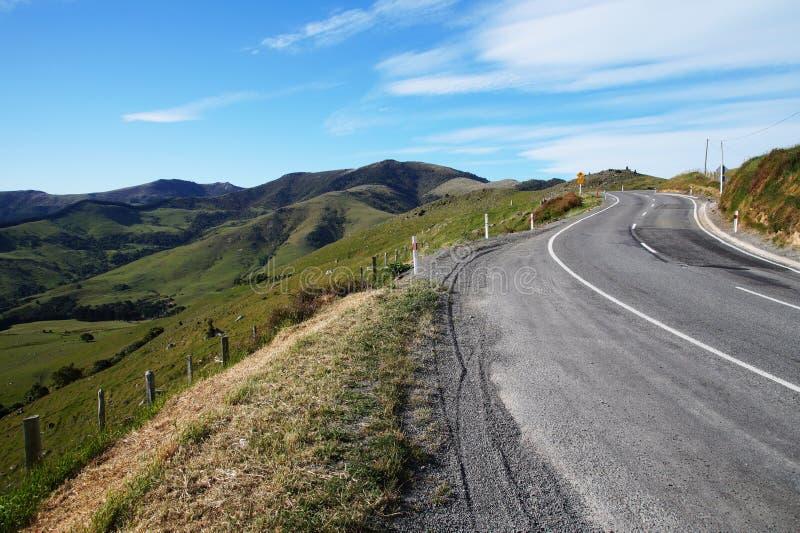 Road to Akaroa, New Zealand stock photo