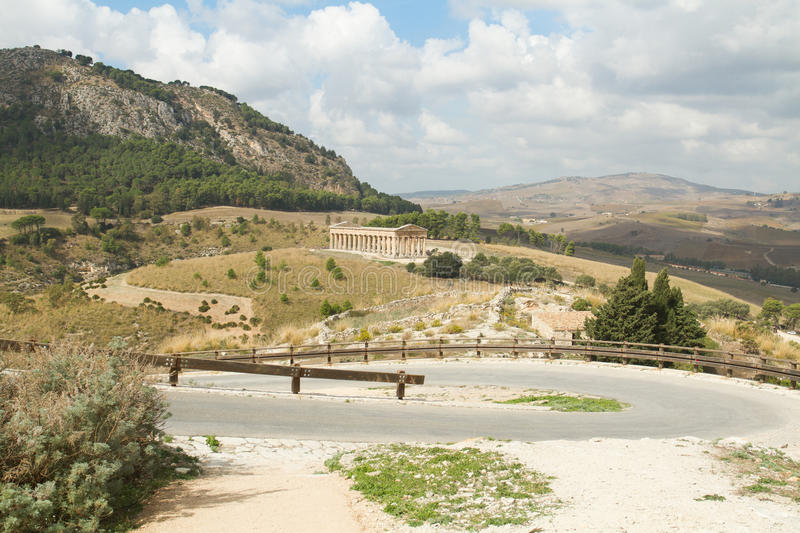 The road to the ancient temple of Segesta stock photo