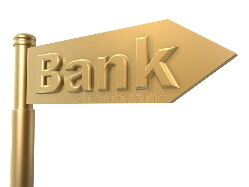 Road to bank guide. Road to bank golden guide sign royalty free illustration