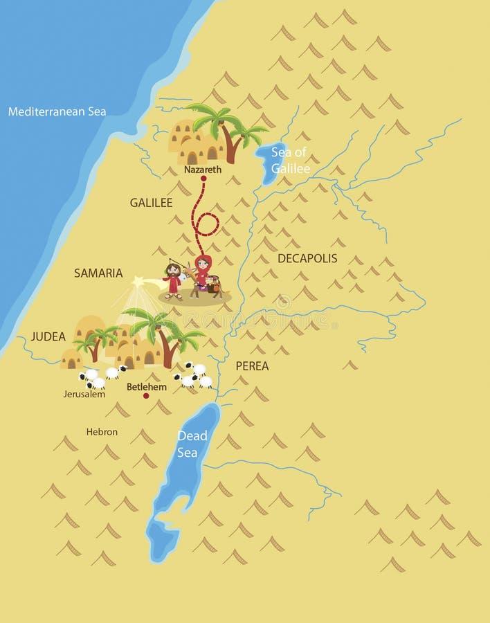 Road to Bethlehem. Mary and Joseph on the way to Bethlehem stock illustration