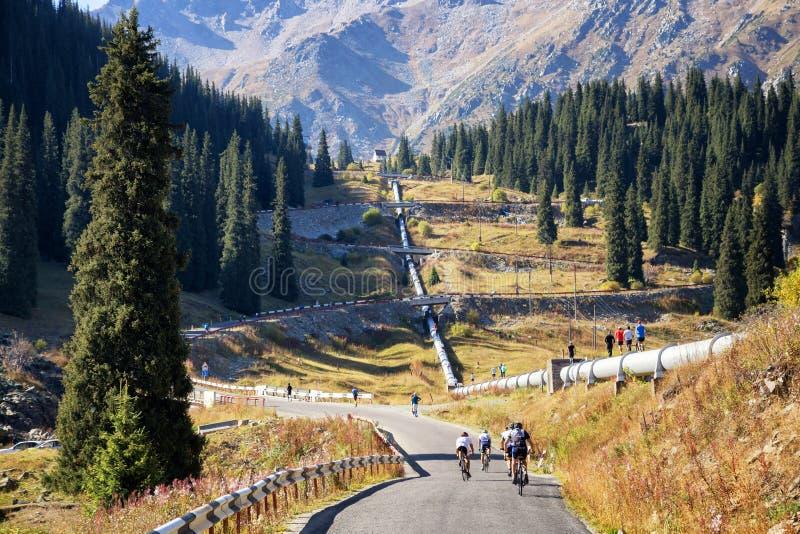 Road to Big Almaty Lake stock image