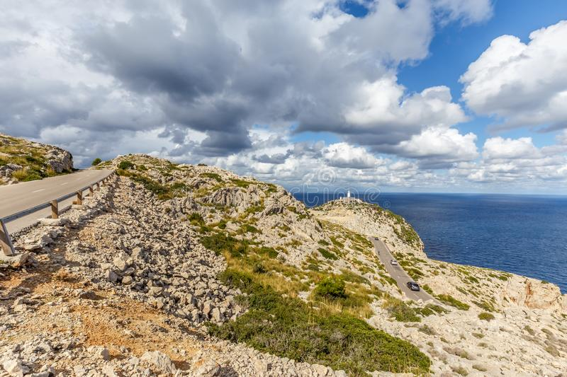 Road to Cap Formentor lighthouse stock photo