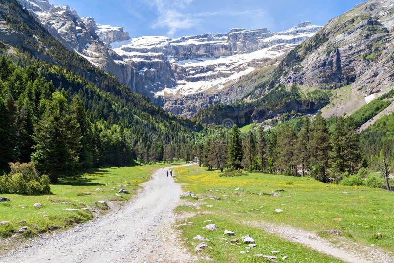 Road to Cirque de Gavarnie. Hautes-Pyrenees, France stock photo