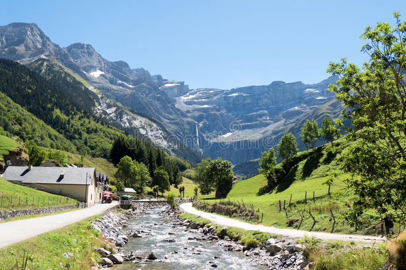 Road to Cirque de Gavarnie, Hautes-Pyrenees, France stock images