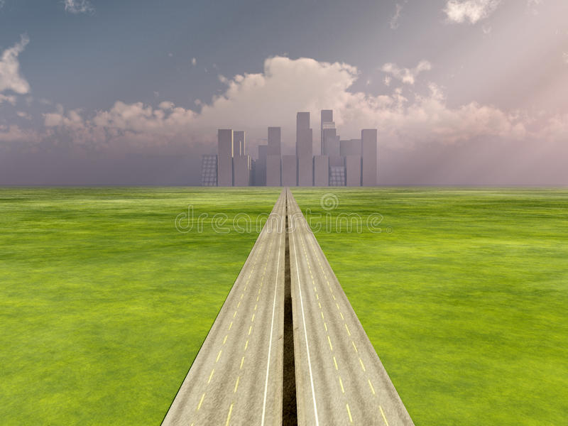 The Road To The City stock illustration