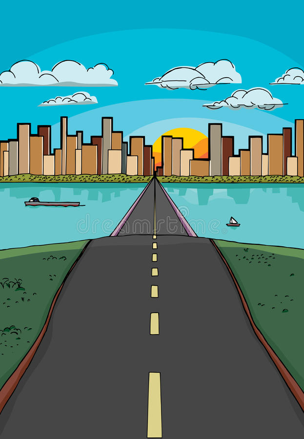 Road to a City royalty free illustration