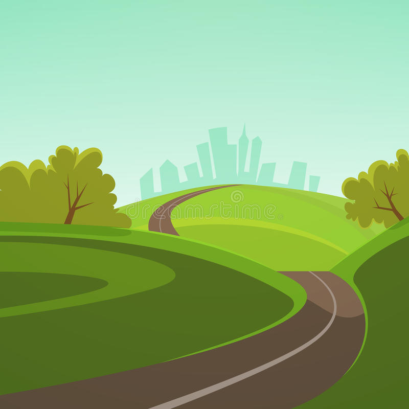 Road to the city vector illustration